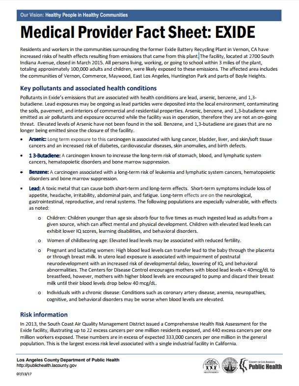 Exide fact sheet for medical providers