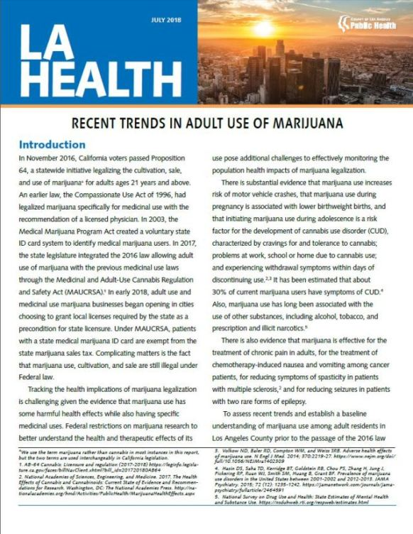Cover of Marijuna Use Health Brief