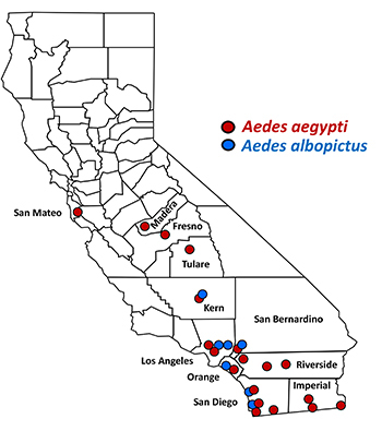 Map of California with Aedes mosquito detection sites