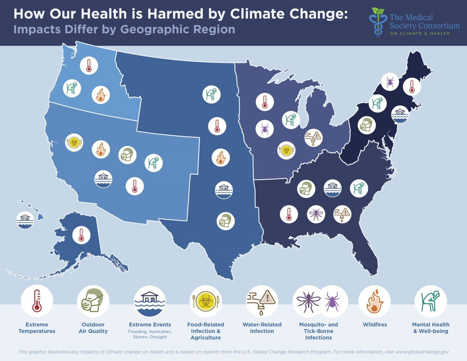 Map showing how our health is harmed by climate change